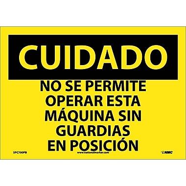 Cuidado, No Se Permite Operar Esta Maquina Sin Guardiaas En Posicion, 10X14, Adhesive Vinyl