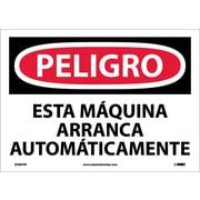 Peligro, Esta Maquina Arranca Automaticamente, 10X14, Adhesive Vinyl