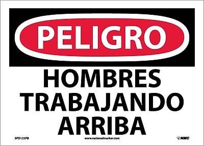 Peligro, Hombres Trabajando Arriba, 10X14, Adhesive Vinyl