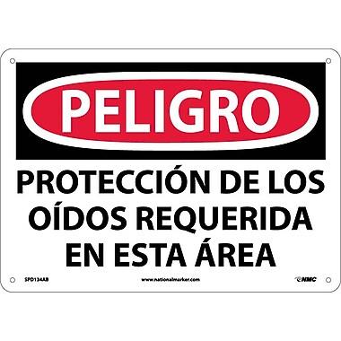 Peligro, Proteccion De Los Oidos Requerida En Esta Area, 10X14, .040 Aluminum