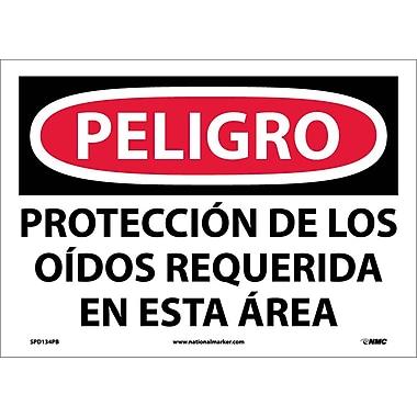 Peligro, Proteccion De Los Oidos Requerida En Esta Area, 10X14, Adhesive Vinyl