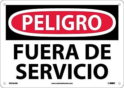 Peligro, Fuera De Servicio, 10X14, Rigid Plastic