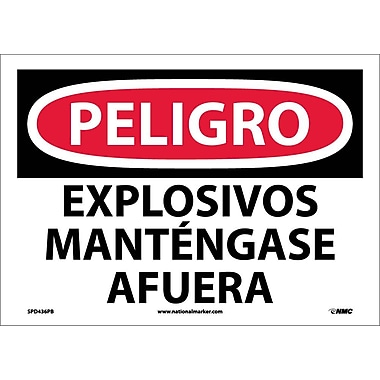 Peligro, Explosivos Mantengase Afuera, 10X14, Adhesive Vinyl