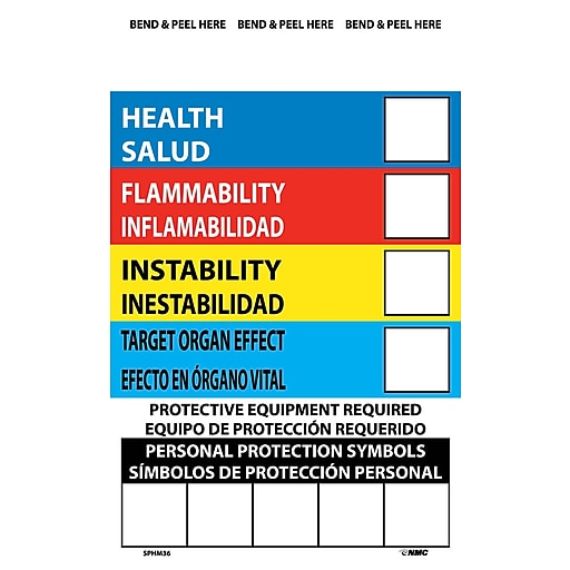 right to know labels write on color bar bilingual 6x4 adhesive