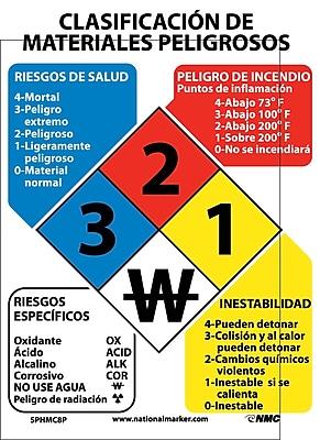 Hazardous Materials Classification Sign (Spanish), 11X8, Adhesive Vinyl