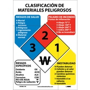Hazardous Materials Classificaton Sign (Spanish), 14X10, Adhesive Vinyl