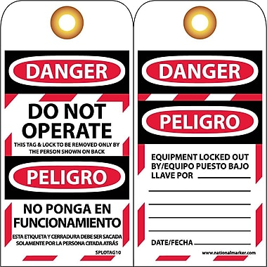 Lockout Tags, Lockout, Danger Do Not Operate. . .(Bilingual), 6X3, Unrip Vinyl, 10/Pk