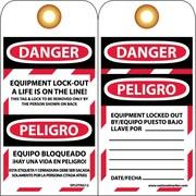 Lockout Tags, Lockout, Danger Equipment Lockout. . .(Bilingual), 6X3, Unrip Vinyl, 10/Pk