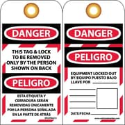 Lockout Tags, Lockout, Danger This Tag & Lock To Be Removed Only. . .(Bilingual)