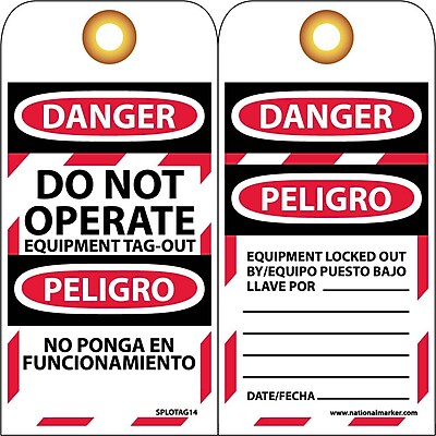 Lockout Tags, Lockout, Danger Do Not Operate Equipment. . .(Bilingual), 6X3, Unrip Vinyl, 10/Pk