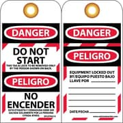 Lockout Tags, Lockout, Danger Do Not Start. . .(Bilingual), 6X3, Unrip Vinyl, 10/Pk