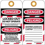 Lockout Tags, Lockout, Danger, Locked Out Do Not Operate Bilingual, 6X3, Unrip Vinyl, 10 Pk