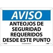 Aviso, Anteojos De Seguridad Requeridos Desde Este Punto, 10X14, .040 Aluminum