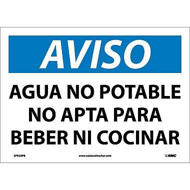 Aviso, Agua No Potable No Apta Para Beber Ni Cocinar, 10X14, Adhesive Vinyl