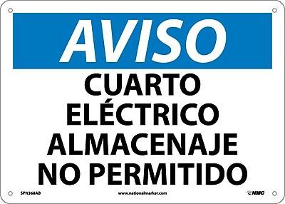 Aviso, Cuarto Electrico Almacenaje No Permitido, 10X14, .040 Aluminum