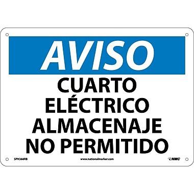 Aviso, Cuarto Electrico Almacenaje No Permitido, 10X14, Rigid Plastic