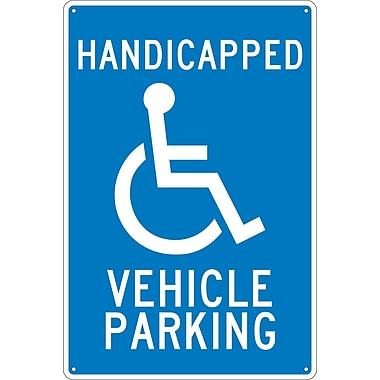 Panneau Handicapped Vehicle Parking, 18 x 12 po, aluminium 0,040