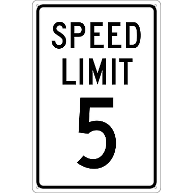 Panneau Speed Limit 5, 18 x 12 po, aluminium 0,040