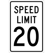 Panneau Speed Limit 20, 18 x 12 po, aluminium 0,040