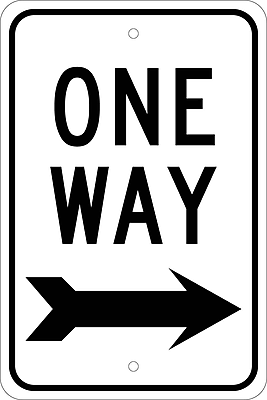One Way (With Right Arrow), 18X12, .080 Egp Ref Aluminum