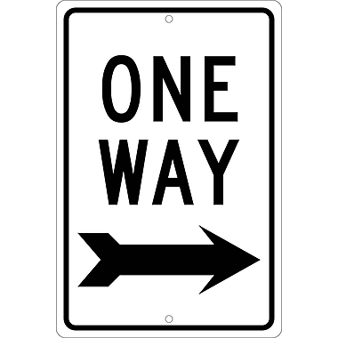 One Way (Right Arrow), 18X12, .080 Hip Ref Aluminum