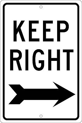Keep Right (With Arrow), 18X12, .063 Aluminum