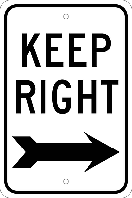 Keep Right (With Arrow), 18X12, .080 Egp Ref Aluminum