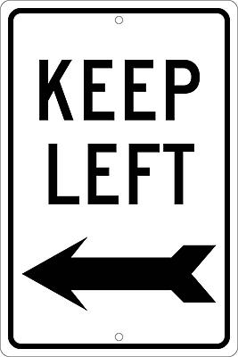 Keep Left (With Arrow), 18X12, .063 Aluminum