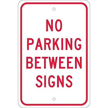 No Parking Between Signs, 18X12, .080 Egp Ref Aluminum