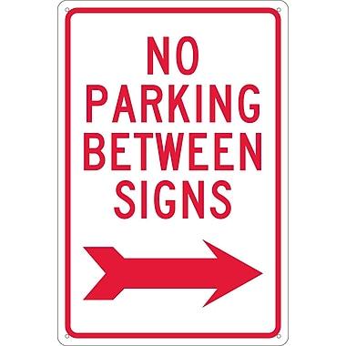 No Parking Between Signs (W/ Right Arrow), 18X12, .040 Aluminum