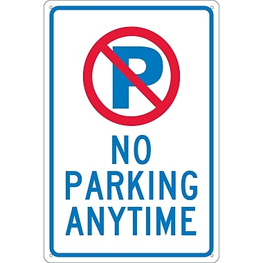 P With Slash No Parking Anytime, 18X12, .040 Aluminum