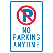 "P with Slash No Parking Anytime, 18"" x 12"", .040 Aluminum"