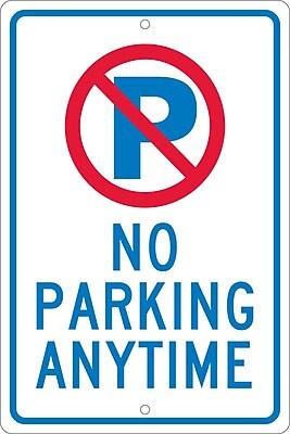 P With Slash No Parking Anytime, 18X12, .063 Aluminum