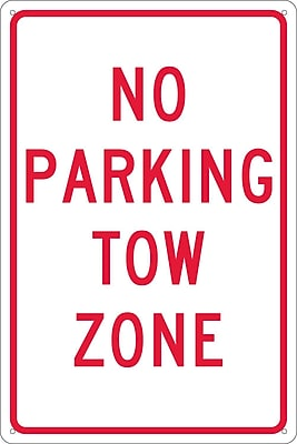 No Parking Tow Zone, 18X12, .040 Aluminum