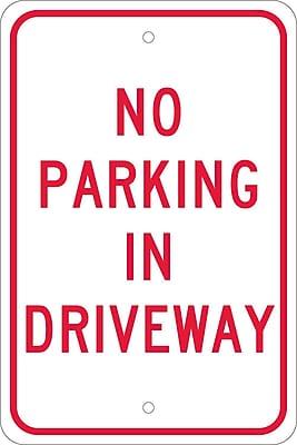 No Parking In Driveway, 18X12, .080 Egp Ref Aluminum