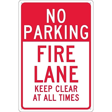 No Parking Fire Lane Keep Clear At All Times, 18X12, .040 Aluminum
