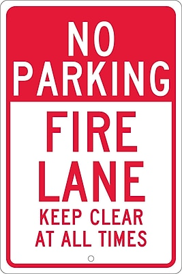 No Parking Fire Lane Keep Clear At All Times, 18X12, .063 Aluminum