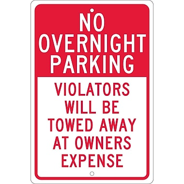 No Overnight Parking, Violators Will Be Towed Away At Owners Expense, 18