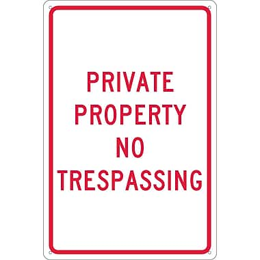 Panneau Private Property No Trespassing, 18 x 12 po, aluminium 0,040
