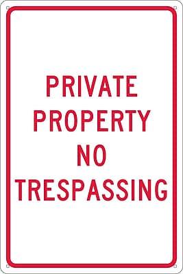Private Property No Trespassing, 18X12, .040 Aluminum