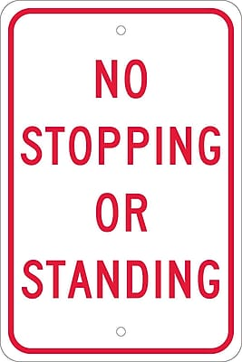 No Stopping Or Standing, 18X12, .080 Egp Ref Aluminum