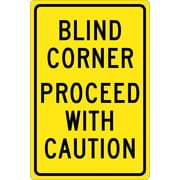 Blind Corner Proceed With Caution, 18X12, .040 Aluminum