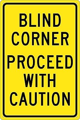 Blind Corner Proceed With Caution, 18X12, .040 Aluminum