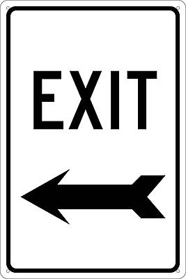 Exit (With Left Arrow), 18X12, .040 Aluminum