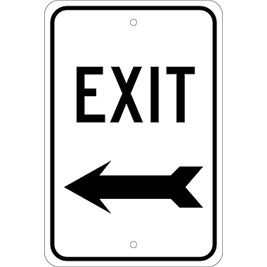 Exit (With Left Arrow), 18X12, .080 Egp Ref Aluminum