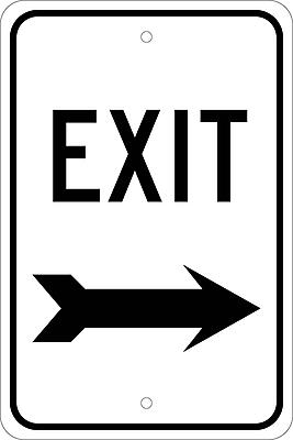Exit (With Right Arrow), 18X12, .080 Egp Ref Aluminum