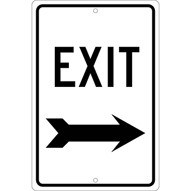 Exit (Right Arrow), 18X12, .080 Hip Ref Aluminum