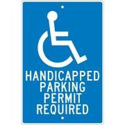 National Marker - Panneau de sécurité Handicapped Parking Permit Required, 18 x 12 po, aluminium 0,063