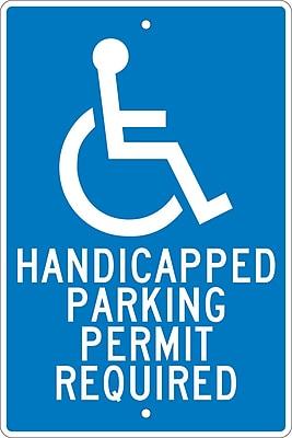 Handicapped Parking Permit Required, 18X12, .063 Aluminum