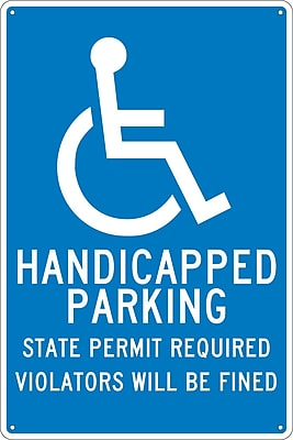 Handicapped Parking State Permit Required.., 18X12, .040 Aluminum